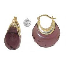 Genuine Amethyst set in 925 Sterling Silver Earring