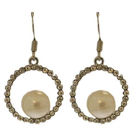 Fancy Crystal Hoop Eternity Earrings Gold