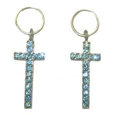 Cross Earring Wholesale Blue Topaz Crystal