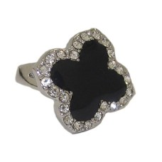 Enamel Wholesale Desinger Ring White Gold Jet Black