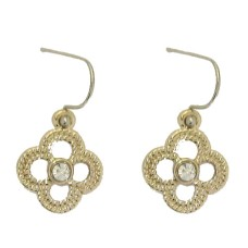 Yellow Gold Earring accented in Crystal