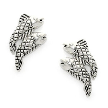925 Sterling Silver Double Fish Earrings