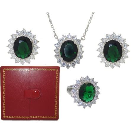 Princess Kate 3 Pcs Boxed Wholesale Set Emerald And Simulated Diamond