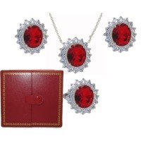 Princess Kate 3 Pcs Boxed Wholesale Set Ruby & Simulated Diamond