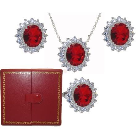 Princess Kate 3 Pcs Boxed Wholesale Set Ruby & Simulated Diamond