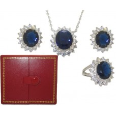 Princess Kate 3 Pcs Boxed Wholesale Set Sapphire And Simulated Diamond