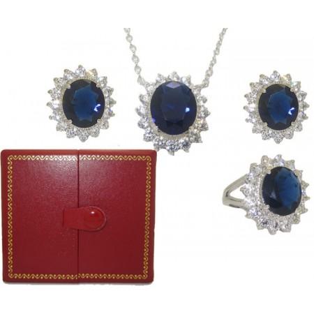 Princess Kate 3 Pcs Boxed Wholesale Set Sapphire And Simulated Diamond