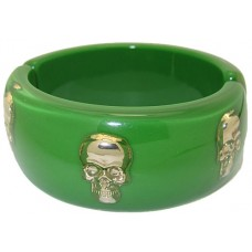 Hinged Skull Bangle Bracelet accented in Gold Green