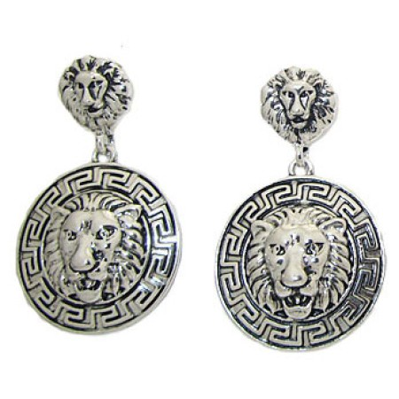 Rhodium plate Earring low price with the famous lion
