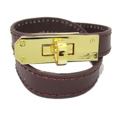 Brown Leather Bracelet in Gold wholesale jewelry