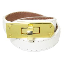 White Leather Bracelet Accented in Gold wholesale jewelry