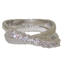 Criss Cross CZ Designer Ring best selling white gold