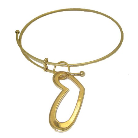 Expandable Bangle with Large Open Yellow Heart