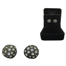 Pave Gun metal Simulated Diamond Ball Earring Boxed