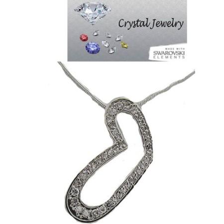 Austrian Crystal Heart Pendant White Gold
