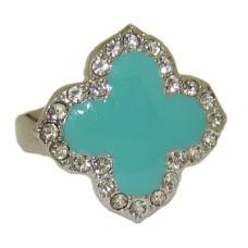 Enamel Desinger Ring White Gold Turquoise
