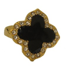 Enamel Wholesale Desinger Ring Yellow Gold Jet Black