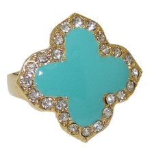 Enamel Desinger Ring Yellow Gold Turquoise