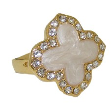 Enamel Desinger Ring Yellow Gold Mother of Pearl
