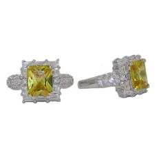 Emerald Cut Cz Celebrity's Citrene Yellow