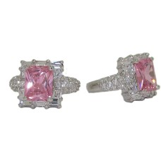 Emerald Cut Cz Celebrity Pink