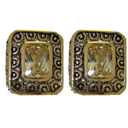 Citrene Cz Designer Earrings Accented 18 KT Gold