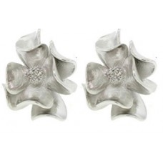 Flower Earring with Cz's White