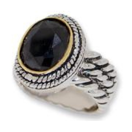 Double Cable Wholesale Ring Austrian Crystal Jet Black
