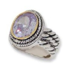 Double Cable Wholesale Ring Austrian Crystal Lavender