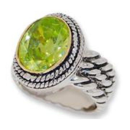 Double Cable Wholesale Ring Austrian Crystal Peridot