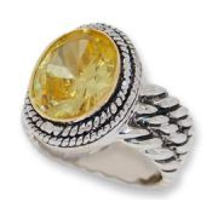 Double Cable Wholesale Ring Citrine Austrian Crystal