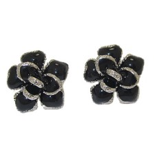 Silver And Black Epoxy and White CZ Earrings