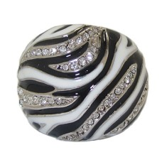 Animal Print Black And White Gold Ring
