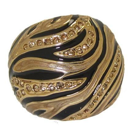 Animal Print Black & Brown Gold Ring