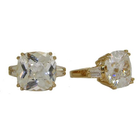 Bachelorette Bling Ring Cushion Cut Yellow Gold Designer Ring