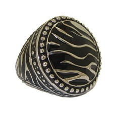 Silver & Jet Black Epoxy High Fashion Ring