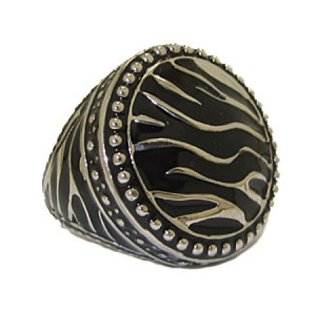 Silver And Jet Black Epoxy High Fashion Ring