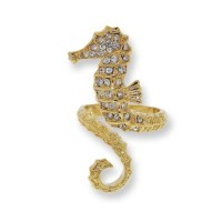 White Czech crystal sea horse rings set in Yellow Gold
