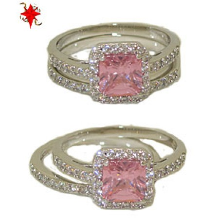 Two Pcs Wedding Engagement Ring in Rhodium And Pink Diamond