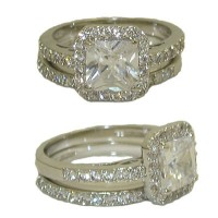 Wedding Engagement Ring in Rhodium with White Diamond