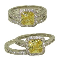 Wedding Engagement Ring in Rhodium with Yellow Diamond