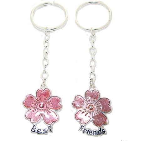 Gift Box Enamel Flower 2 Pcs Wholesale Keychains Sets Boxed