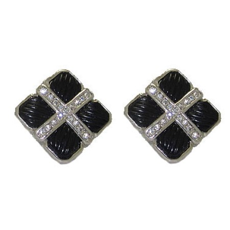 Cable Style Earring in Swarovski Austrain Crystal
