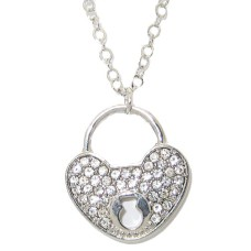 Pave Crystal Heart And Key Hole Necklace