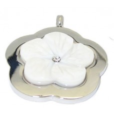 Stainless Steel White Pearl & CZ Pendant