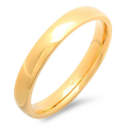 Unisex Stainless Steel Wedding Band Ring 18 KT Gold Plate