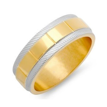 Men's Two-Tone Ring in 18 KT Gold Plated And Metallic