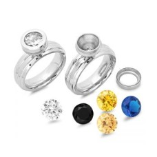 Stainless Steel Interchangeable CZ Ring