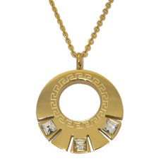 Steel Circle Pendant accented in Yellow Gold And Cz