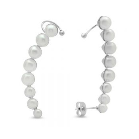 Ladies Stainless Steel Climber Cuff Earrings With Simulated Pearls